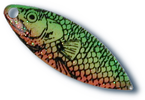 -573 - 3 1/2 Fire Tiger Fish Print Willow Blade - 10 Pack