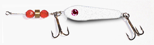 -127 - White Metallic w/ Red Beads 3/4 oz Fergie Spoon
