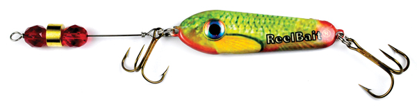 55804 - GreenRed Minnow w/Red Beads - 1 1/2 oz Prototype Fergie Spoon