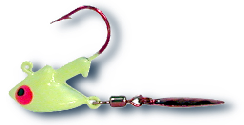 55328 - Fluorescent Chartreuse 1/8 oz SS Red Tail Flasher Twin Pack