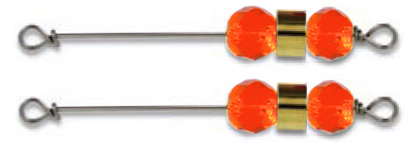 55489 - Opaque Orange Clacker Assembly - Twin Pack plus split rings