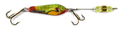 55550 - GreenRed Minnow w/Chart Beads - 3/4 oz Prototype Fergie Spoon